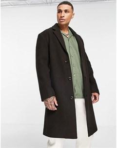 Коричневое длинное пальто свободного кроя из материала с добавлением шерсти Asos design