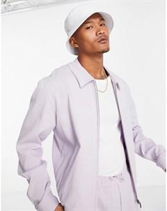 Сиреневая строгая куртка Харрингтон от комплекта из жатой ткани Asos design