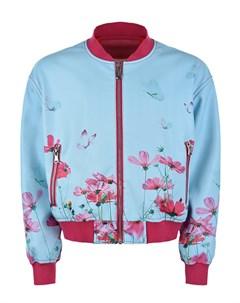Голубая куртка бомбер из эко кожи с цветочным принтом детская Freedomday