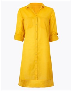 Пляжное платье рубашка на пуговицах с разрезами по бокам Marks & spencer