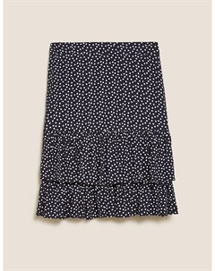 Мини юбка в горошек с оборками Marks & spencer