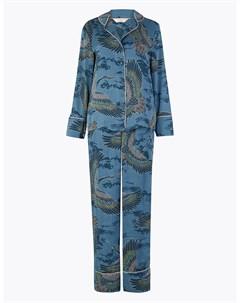 Пижамный комплект с принтом птицы Marks & spencer