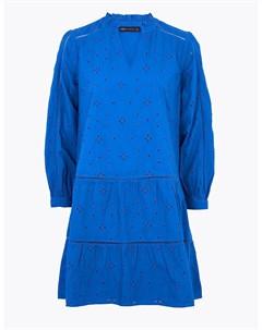 Платье свинг с длинным рукавом декорировано вышивкой бродери Marks & spencer