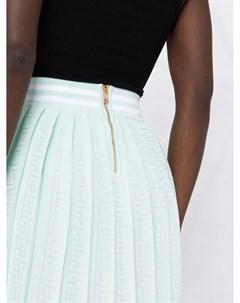 Плиссированная юбка с монограммой PB Balmain