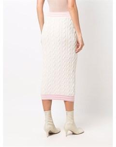 Трикотажная юбка с контрастной окантовкой Balmain
