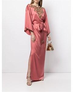 Декорированное платье с боковым разрезом и поясом Marchesa
