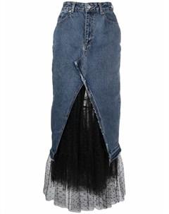 Джинсовая юбка из тюля пуэн деспри Red valentino