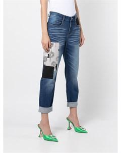 Укороченные джинсы в технике пэчворк Hellessy