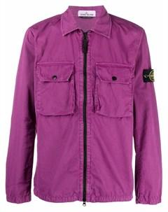 Куртка рубашка с карманами и нашивкой логотипом Stone island