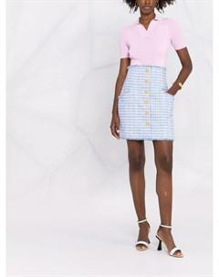Твидовая юбка с тиснеными пуговицами Balmain
