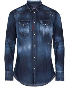 Джинсовая рубашка с эффектом разбрызганной краски Dsquared2