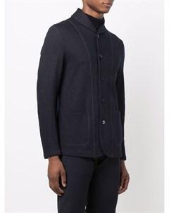 Однобортный пиджак с контрастной отделкой Giorgio armani