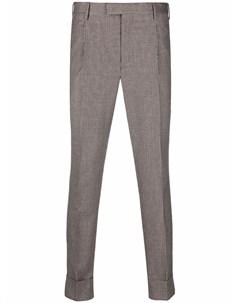 Клетчатые брюки со складками Pt01