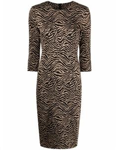 Платье миди с зебровым принтом Pinko