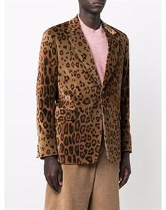 Бархатный пиджак с леопардовым принтом Etro