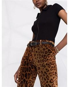 Бархатные брюки с анималистичным принтом Etro