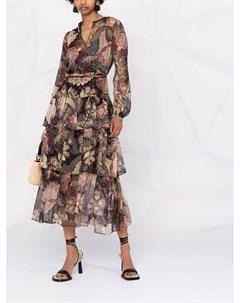 Платье с длинными рукавами и цветочным принтом Twinset
