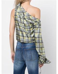 Клетчатая блузка на одно плечо Hellessy