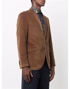 Бархатный однобортный пиджак в рубчик Etro