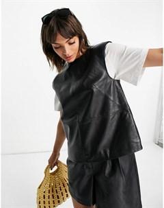 Черный кожаный топ без рукавов с широкими плечами Muubaa