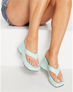 Мятные сандалии на плоской подошве с уплотненными ремешками и перемычкой между пальцами Tonic Asos design