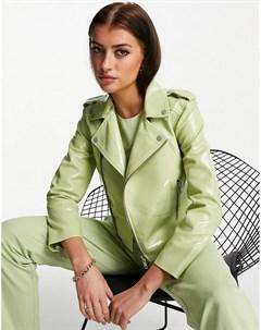 Зеленая укороченная куртка из лакированной кожи Muubaa