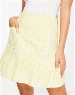 Разлетающаяся мини юбка в клетку с оборкой по нижнему краю и карманами с рюшами Neon rose