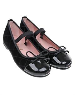 Черные велюровые туфли детские Pretty ballerinas