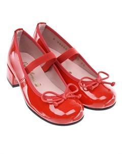 Красные лакированные туфли для девочки детские Pretty ballerinas