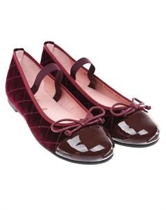 Бордовые стеганые туфли детские Pretty ballerinas
