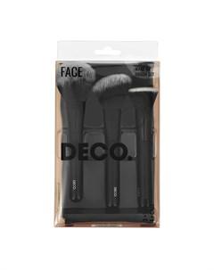 Набор кистей для макияжа лица в чехле 3 шт Deco
