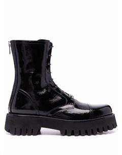 Лакированные ботинки на шнуровке Casadei