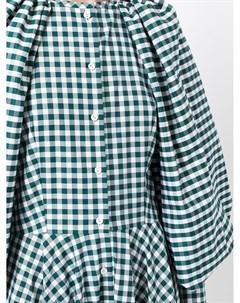 Платье в клетку гингем с объемными рукавами Martin grant