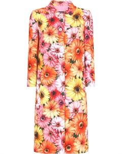 Пальто на пуговицах с цветочным принтом Dolce&gabbana