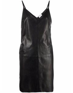 Кожаное платье с V образным вырезом Parosh