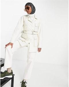 Удлиненная кожаная куртка кремового цвета в утилитарном стиле Chloe Muubaa