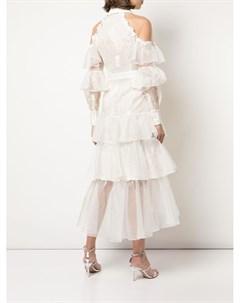 Платье с оборками и открытыми плечами Marchesa