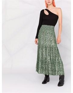 Присборенная юбка со змеиным принтом Pinko