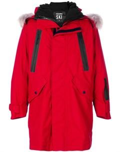 Пальто с капюшоном и принтом логотипом Dsquared2