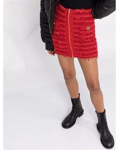 Короткая твидовая юбка с завышенной талией Balmain