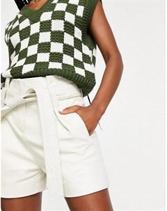 Кремовые кожаные шорты с присборенной талией и завязкой Muubaa