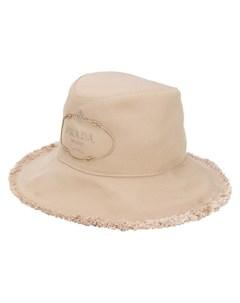 prada шапка с вышитым логотипом нейтральные цвета Prada