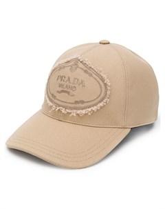 prada кепка с нашивкой логотипом нейтральные цвета Prada