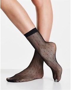Черные сетчатые носки до щиколотки в горошек Pretty polly
