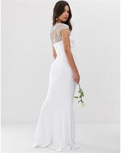 Свадебное платье макси с короткими рукавами подолом годе и отделкой City goddess