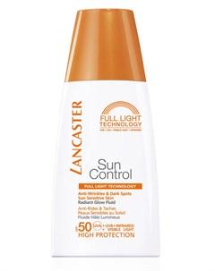 Флюид солнцезащитный против морщин и пигментных пятен для лица Сияющий загар SPF 50 Sun Control 30 м Lancaster