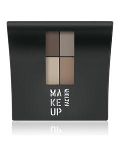 Тени 4 х цветные матовые для глаз 070 коричневый светлый коричневый светлый беж серый беж Mat Eye Co Make up factory