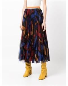 Плиссированная юбка с абстрактным принтом Stella jean