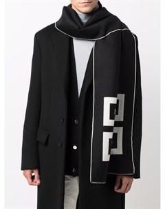 Шарф вязки интарсия из смесовой шерсти Givenchy