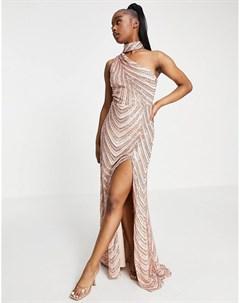 Персиково золотистое платье макси с горловиной чокером и разрезом до бедра Goddiva